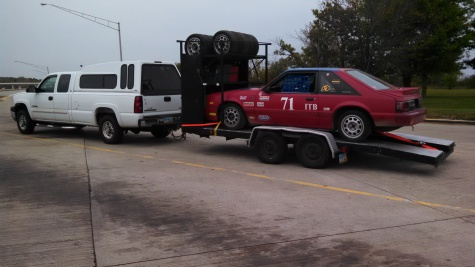 Truck, Mustang & trailer en route to the racetrack