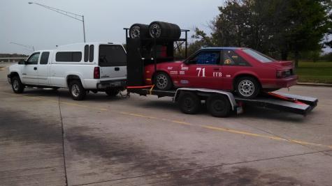 Truck, Mustang & trailer en route to the racetrack